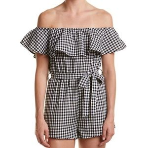 Haute Rogue Gingham Off The Shoulder Romper